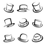 Black top hat set. Vector Royalty Free Stock Images