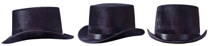 Black top hat on white Stock Photo