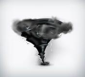Black tornado with lightning Stock Image