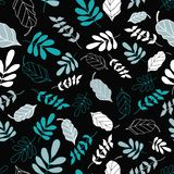 Black Tossed Floral and Leaves Mix Pattern royalty free illustration
