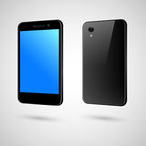Black touch-screen smart phone. The front and the back of black phone Stock Images
