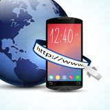 Black touch screen smartphone with web browser and blue Earth globe  on white background Stock Photo