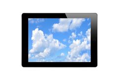 Black Touch Screen Tablet with Blue Sky Royalty Free Stock Photography
