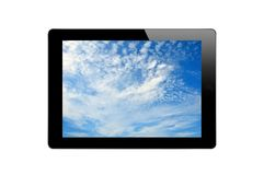 Black Touch Screen Tablet with Blue Sky Stock Photos