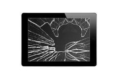 Black Touch Screen Tablet with broken screen isolated on white Stock Image