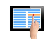 Black Touch Screen Tablet and woman hand making Royalty Free Stock Photography