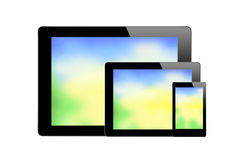 Black Touch Screen Tablets with bright screen isolated on white Royalty Free Stock Photos