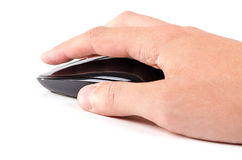 Black touch wireless modern computer mouse in hand isolated Stock Images