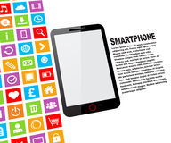 Black touchscreen smartphone. With blank screen and colorful app icons royalty free illustration