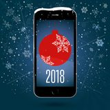 Black touchscreen smartphone with a picture of the Christmas ball. Christmas application. New Year. Vector Image. Snow background of snowflakes and snow flakes vector illustration
