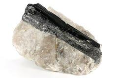 Black tourmaline. On quartz isolated on white background stock photo