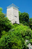Black Tower, Brasov, Transylvania, Romania. Black Tower in Brasov, Transylvania county in Romania. The tower was built in 1494 on a rock on Straja Hill, near the Royalty Free Stock Image
