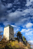 Black Tower in Brasov, Transylvania, Romania. Black Tower in Brasov, Transylvania county in Romania. The tower was built in 1494 on a rock on Straja Hill. In Stock Image