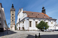 Black Tower and Cathedral in Ceske Budejovice Royalty Free Stock Photography