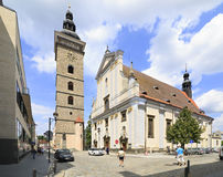 Black Tower and St. Nicholas Cathedral in Ceske Royalty Free Stock Photography