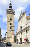 Black Tower and St. Nicholas Cathedral in Ceske Royalty Free Stock Image