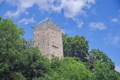 Landmark attraction in Brasov, Romania. Black Tower. On Warthe Hill Royalty Free Stock Photo
