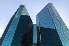 Black towers. Dark glass towerblocks in Bangkok Stock Photos