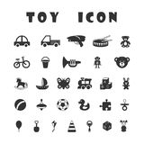 Black toy icons isolated on white background. Toys icon collection.  Black icons isolated on white background Royalty Free Stock Images