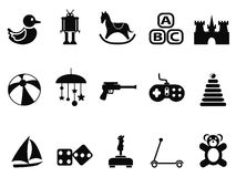 Black toy icons set Stock Image