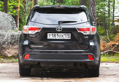 Black Toyota Highlander car,  rear view. Kotka, Finland - July 16, 2016: Black Toyota Highlander car,  rear view Royalty Free Stock Photography