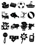 Baby toys icons set Royalty Free Stock Photos