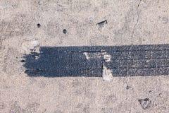 Black trace of track tire brake Stock Photos