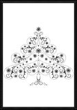 Black tracery Christmas tree with snowflakes and beads Royalty Free Stock Photos