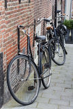 Black traditional dutch bikes Royalty Free Stock Image