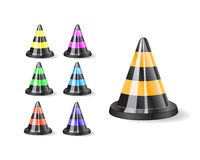 Black traffic cones icon Stock Images