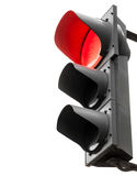 Black traffic lights with red signal isolated on white Stock Photography