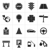 Black Traffic, road and travel icons. Vector icon set Royalty Free Stock Image