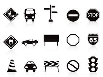 Black traffic sign icons set. Isolated black traffic sign icons set on white background Royalty Free Stock Photography