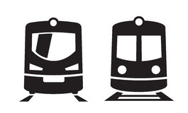 Black Train icons. Vector black Train icons on white background Stock Photography