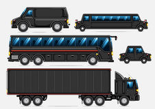 Black transport collection. Set of black isolated vehicles on white background Stock Photography