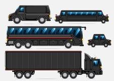 Black transport collection. Set of black isolated vehicles on white background Royalty Free Illustration