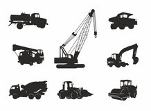Black transport icons. With special equipment Stock Photos