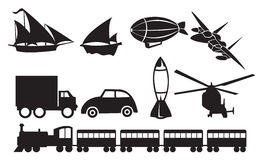 Black Transportation Icons Against White Background Stock Photography