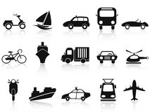 Black transportation icons set Royalty Free Stock Photos