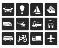 Black Transportation and travel icons. Vector icon set Stock Photos