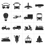 Black Transportation and travel icons. Vector icon set Stock Images