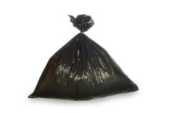 Black trash bag isolated on white Royalty Free Stock Photography