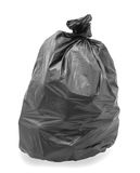 Black trash bag. Isolated on white background stock image