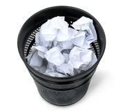 Black trash can. Trash can full of thrown away paper Stock Photography