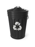 Black trash can isolated Royalty Free Stock Images