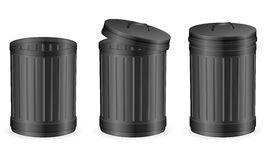 Black trash can Stock Images