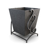 Black trash can on a white background. 3d render image.  Royalty Free Stock Images