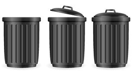 Black trash cans Stock Image