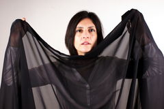 Black trasparent scarf Stock Images