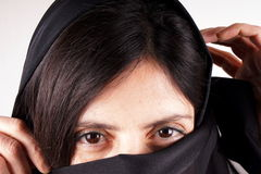 Black trasparent scarf Stock Photos